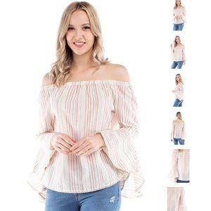 NWT Off shoulder striped ivory BoHo blouse sz XL